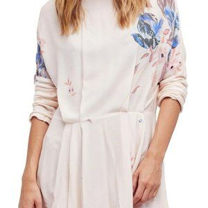 Free People Gemma Printed Tunic Top Blouse Ivory